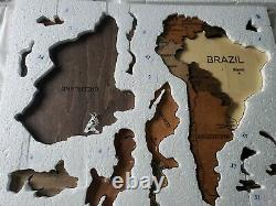 Wooden World Map Wood Decor Wall Home Art Room Travel Map Large 3D Size L EXTRAS