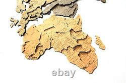 Wooden World Map Wood Decor Wall Home Art Room Travel Map Large Gift 3D Size L