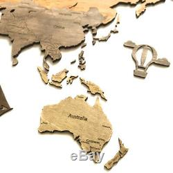 Wooden World Map Wood Decor Wall Home Art Room Travel Map Large Gift Size S M L