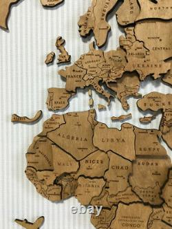 Wooden World Map Wood Wall Art Travel Map Home Decor made of wood