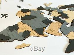 Wooden World Map with States of USA, Canada Wall Decoration L sz (76 x 49)
