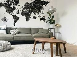 Wooden World Wall Map Black Color With Country and Capitals 250150c (98 59in)