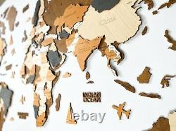 Wooden World Wall Map XXL size 98 x 51 Multicolored