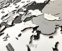 Wooden World Wall Map in Black and White M size 43 x 24