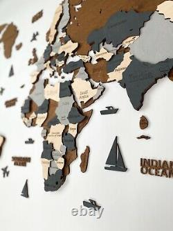 Wooden World Wall Map in Dark Brown and Grey L size 59 x 31