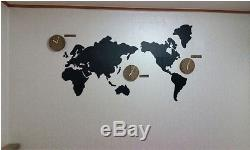 Wooden World map wall clock 3 country time puzzle diy wall Silent world clocks