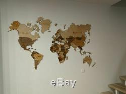 Wooden world map Home decor wall interior ideas high-quality birch plywood