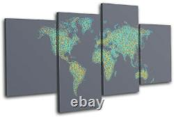 World Atlas Geography Globe Maps Flags MULTI CANVAS WALL ART Picture Print