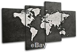 World Atlas Grunge Vintage Maps Flags MULTI CANVAS WALL ART Picture Print