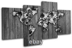 World Atlas Paint Wood B/W Maps Flags MULTI CANVAS WALL ART Picture Print