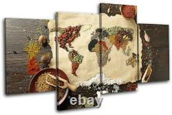 World Atlas Spices Kitchen Maps Flags MULTI CANVAS WALL ART Picture Print