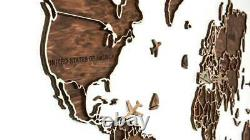World Map 3D Wooden Wall Room Decor Home & Office decoration UNIQUE & HANDMADE
