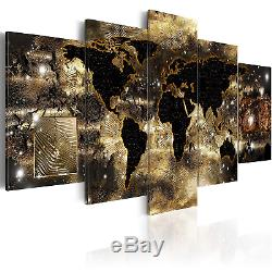 World Map Canvas Wall Art Gold Compass Picture Modern Giant Painting Continents