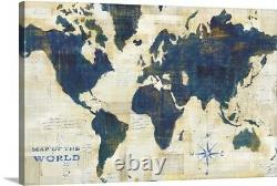 World Map Collage Canvas Wall Art Print, Map Home Decor