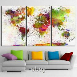 World Map Countries poster picture Canvas Frame print Wall Art Home Decor 3 pcs