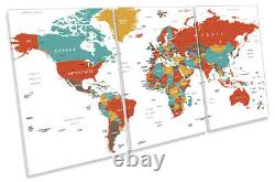 World Map Country Names Print CANVAS WALL ART TREBLE Picture Multi-Coloured