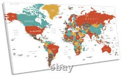 World Map Country Names Print PANORAMIC CANVAS WALL ART Picture Multi-Coloured