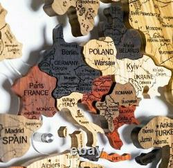 World Map Deluxe Map Enjoy The Wood Travel Gift Wall Art Home Decor L 150 x 90