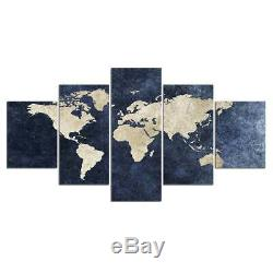 World Map Framed 5 Piece Canvas Wall Art Painting Wallpaper Poster Picture Print