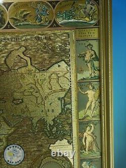World Map From Original Engraving By Moses Pitt In 1681 Gold Leaf Foil 21x17