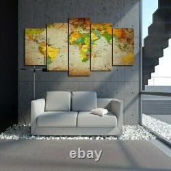 World Map Global Color 5 piece HD Art Poster Wall Home Decor Canvas Print