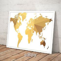 World Map Gold Modern Home Wall Decor Art Poster Print A3 A2 A1 A0 Framed