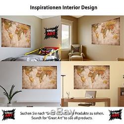World Map Large Antique Wall Mount Old Earth Picture Vintage Big map Home Decor