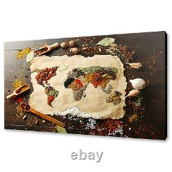 World Map Made Of Colourful Spices Herbs Modern Canvas Print Wall Art Picture