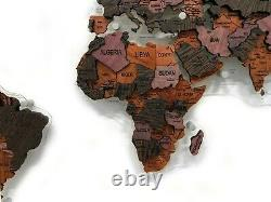 World Map Made Of Exotic Wood Multi-Level 3D Wall Art Decor Home Decoration