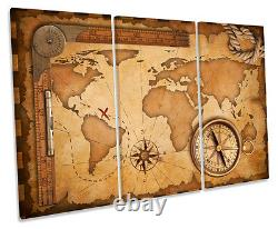 World Map Old Treasure TREBLE CANVAS WALL ART Box Framed Picture