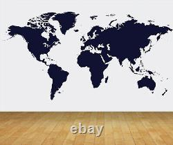 World Map Outline Bespoke Wallpaper Backdrop Print Mural Feature Wall Decal