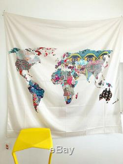 World Map Pattern Indian Tapestry Wall Hanging Home Bed Cover Dormitory Decor