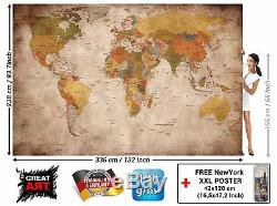 World Map Photo Wall Vintage Retro Antique Size XXL Decoration Office Home