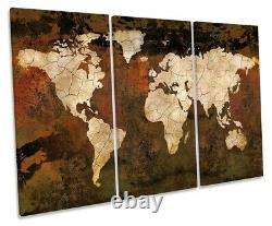 World Map Rust Effect Print TREBLE CANVAS WALL ART Picture Brown