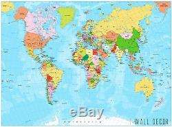World Map Self-Adhesive Wall Mural Kids Wallpaper Removable Room Office Decor
