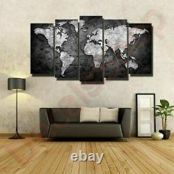 World Map Set 5 Piece Framed Canvas Print Poster Wall Decor Mural FREE SHIPPING