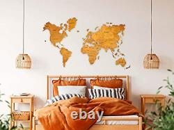 World Map Wall Art, Home Decor, Push Pin Map, Wood Map, Map of the World, Travel