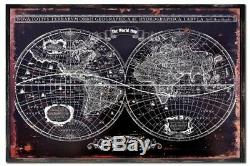 World Map Wall Art Ideal for a Living Room or Study Black and White