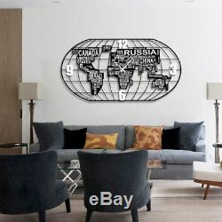 World Map Wall Clock Nordic Style Silent Modern Fashion Wall Watch Living Decor