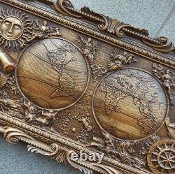 World Map Wall Wood Carving Original Gift With Your Commemorative Inscription