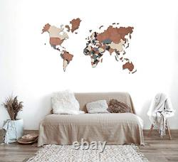 World Map Wall Wooden Map of the World Map Wooden Travel Push Pin Map Rustic Art