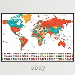 World Map and Flags Antique and Vintage World Maps Canvas Art Print for Wall Dec