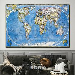 World Map in Colour Antique and Vintage World Maps Canvas Art Print for Wall Dec
