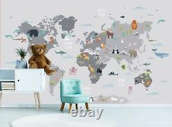 World Map with Animals Wall Mural Photo Wallpaper Peel and Stick Vinyl Nursery