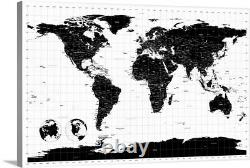 World Map with Longitude and Latitude Canvas Wall Art Print, Map Home Decor
