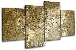 World Old Green/Black Maps Flags MULTI CANVAS WALL ART Picture Print VA