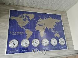 World Times Wall Clock world map designed wall clock New With Box
