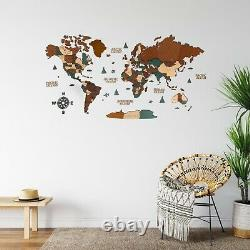 World Wooden Wall Map in Dark Brown and Green XL size 78 x 39