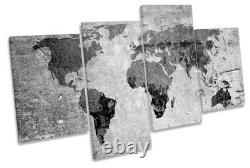 World of the Map Distressed B&W Picture MULTI CANVAS WALL ART Print