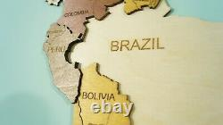 XL size 79inch World Map Wooden World Map, Office Decor Wall